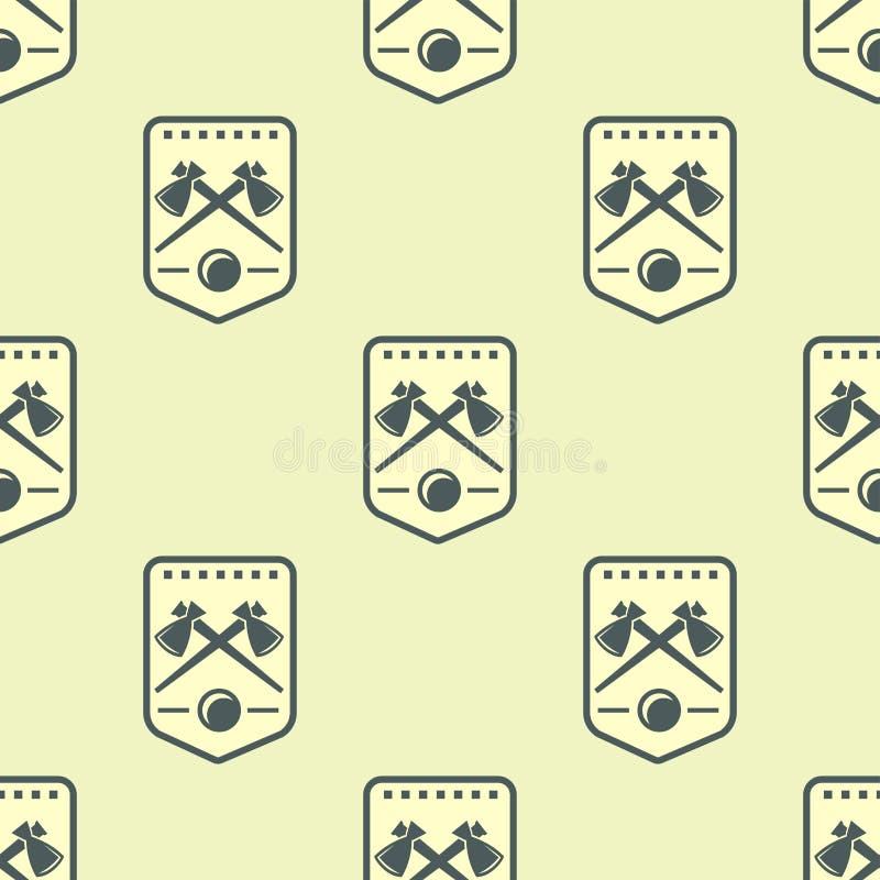 纹章学皇家冠中世纪骑士元素葡萄酒国王标志纹章无缝的样式传染媒介例证 皇族释放例证