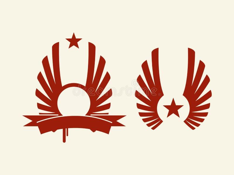 纹章学红色星形向量 库存例证