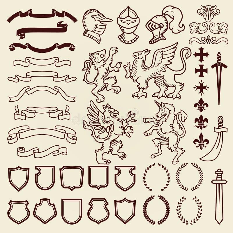 纹章学设计葡萄酒减速火箭的盾clipart皇家胸口元素中世纪骑士装饰品传染媒介例证 向量例证