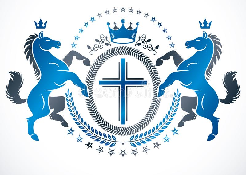 纹章学设计,传染媒介用宗教哥斯达黎加创造的葡萄酒象征 库存例证