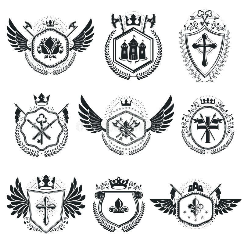 纹章学象征被隔绝的传染媒介例证 汇集的sy 库存例证