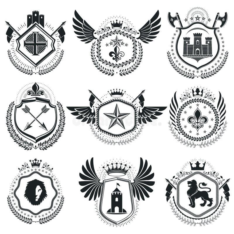 纹章学象征被隔绝的传染媒介例证 汇集的sy 皇族释放例证