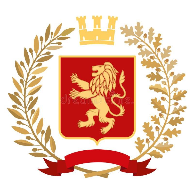纹章,徽章 橄榄树枝,橡木分支,冠,盾,狮子 颜色 皇族释放例证