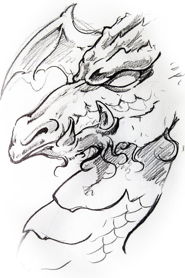纹身花刺中世纪龙剪影  向量例证
