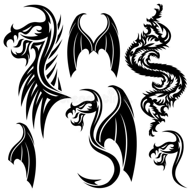纹身花刺元素 皇族释放例证