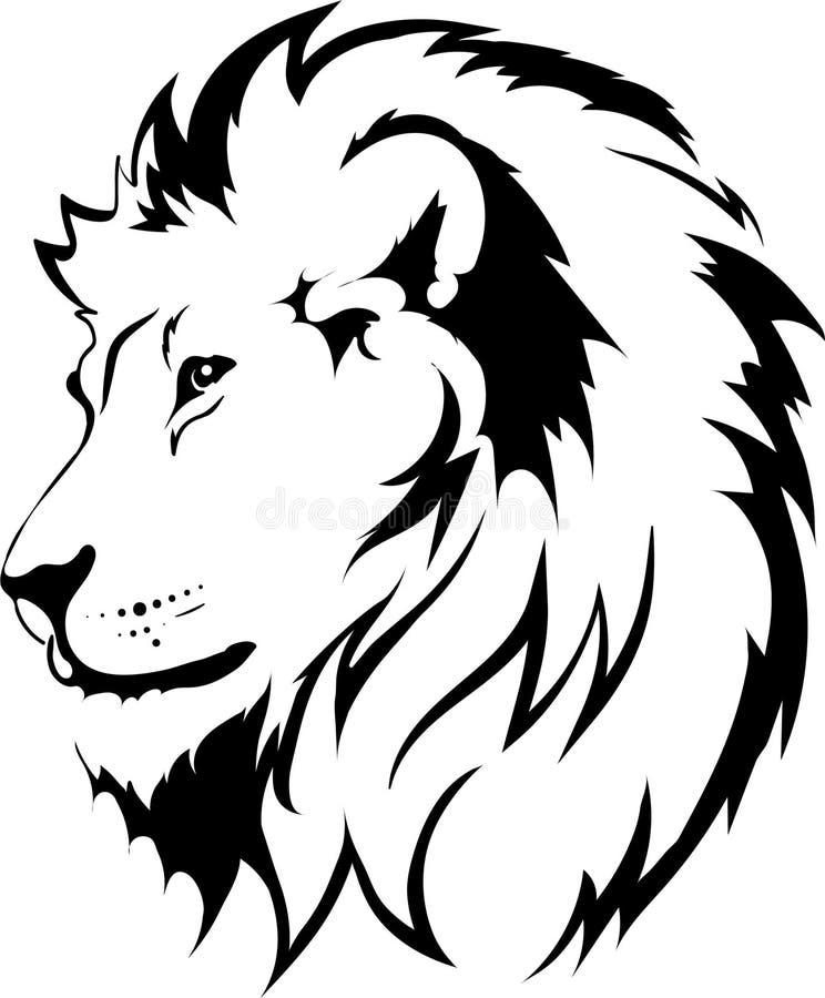 纹身花刺在黑色的狮子头 免版税库存照片
