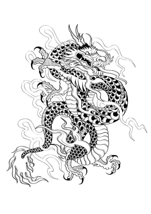 纹身花刺日本式龙 库存例证