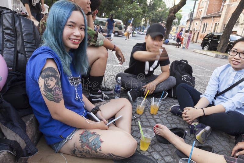 纹身花刺时尚在越南 库存图片
