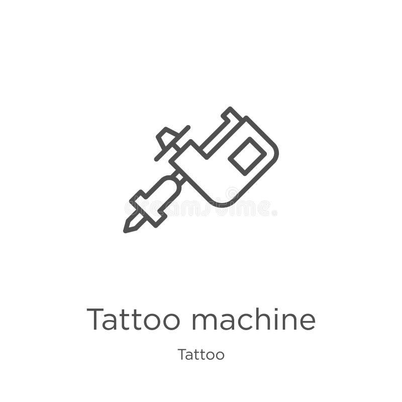 纹身花刺机器从纹身花刺汇集的象传染媒介 稀薄的线纹身花刺机器概述象传染媒介例证 概述,稀薄的线 库存例证
