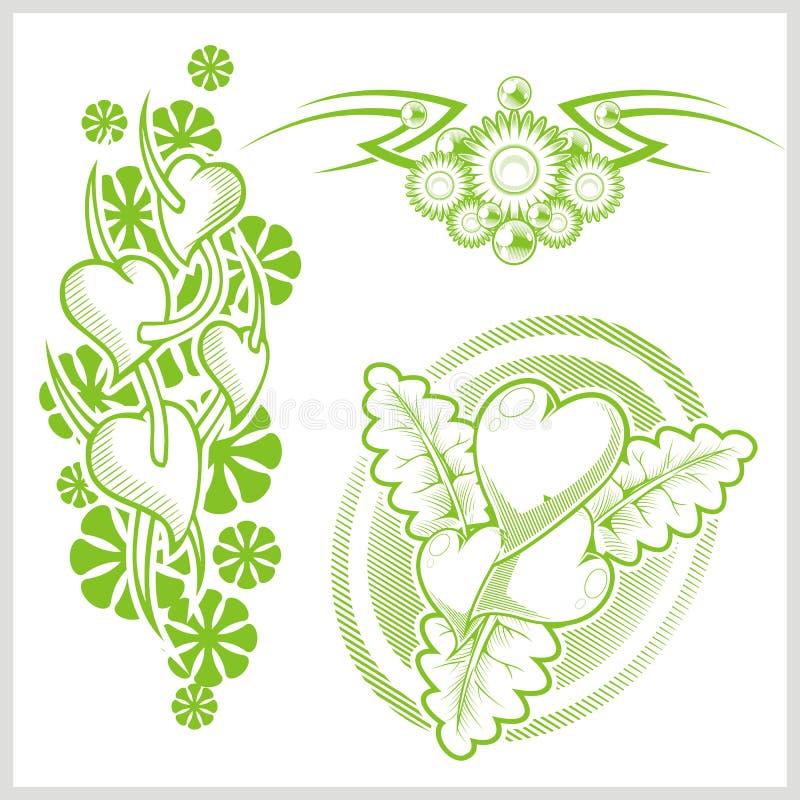 纹身花刺的心脏设计 也corel凹道例证向量 库存例证