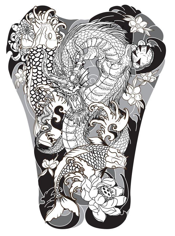 纹身花刺的日本人波浪 手拉的龙和koi钓鱼与后面的花纹身花刺 向量例证