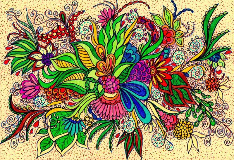 纹身花刺的花卉样式 库存图片
