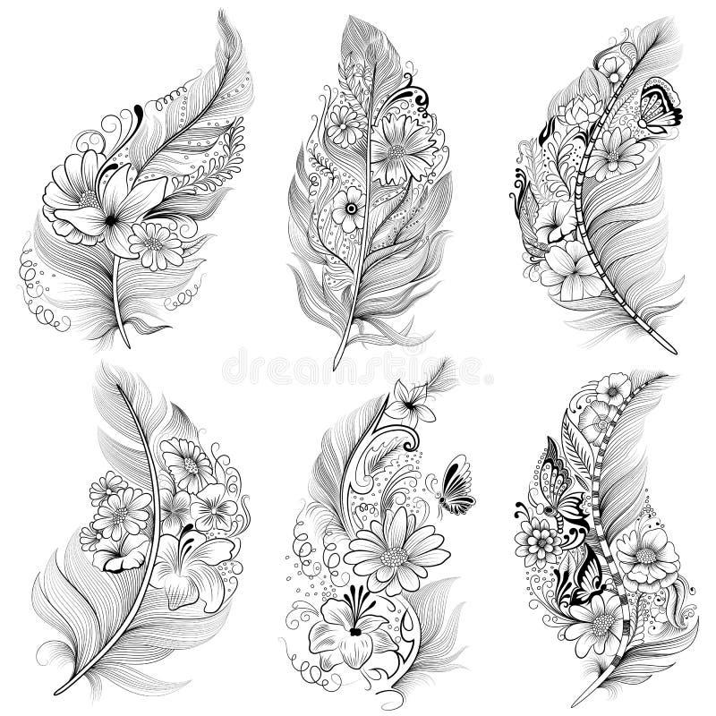 纹身花刺花卉羽毛收藏艺术设计的例证 id. 106840009 | dreamstime.