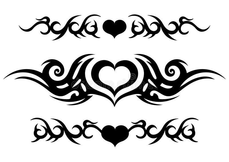 纹身花刺部族设计、华丽凯尔特样式与心脏,纹身花刺小条在胳膊附近或腿,抽象印刷品,装饰品剪影,vecto 库存例证