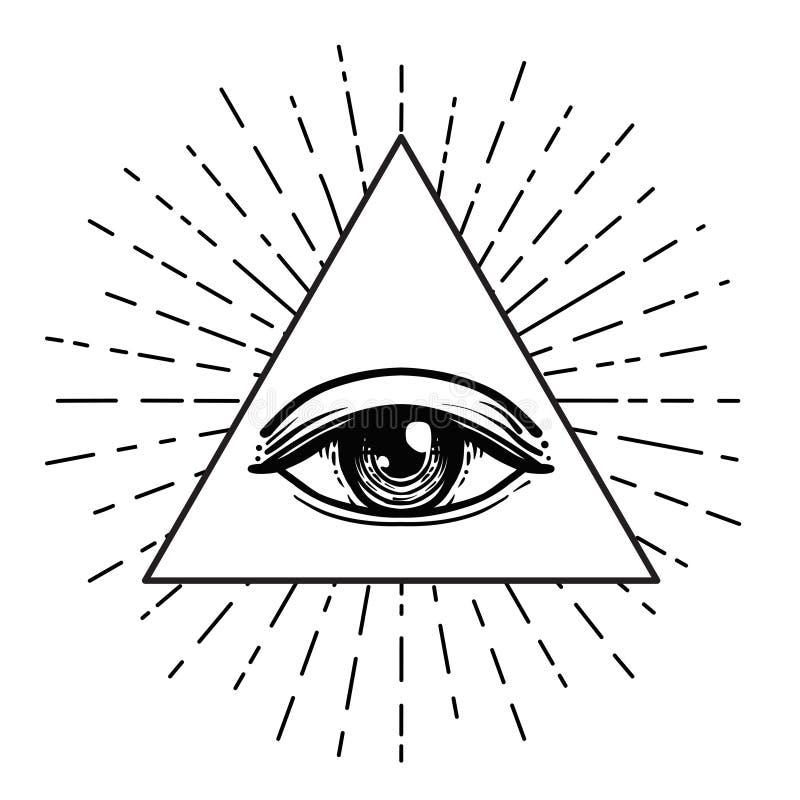 纹身花刺闪光 背景眼睛上帝盾白色 共济会的标志 所有眼睛看见 向量例证