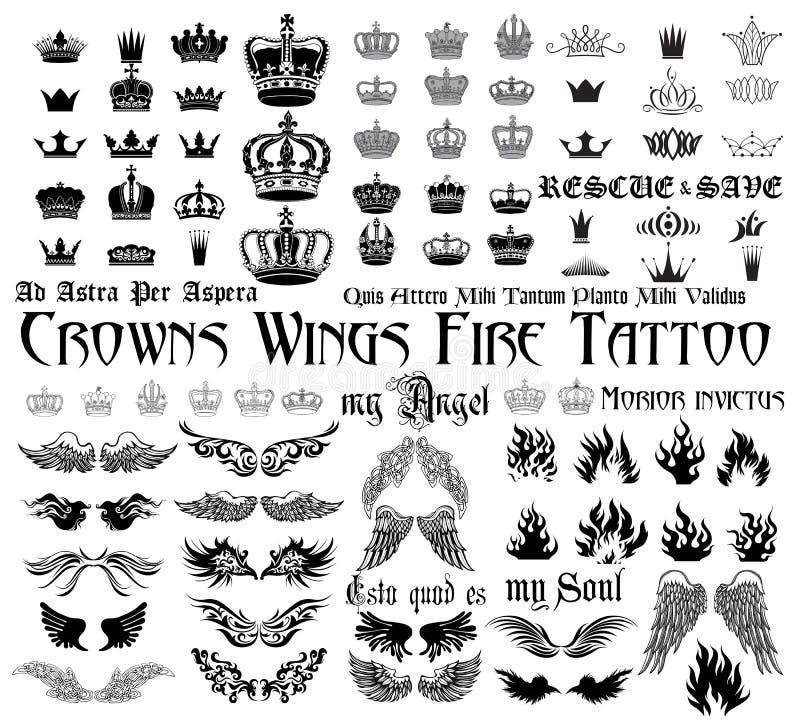 纹身花刺集合 皇族释放例证