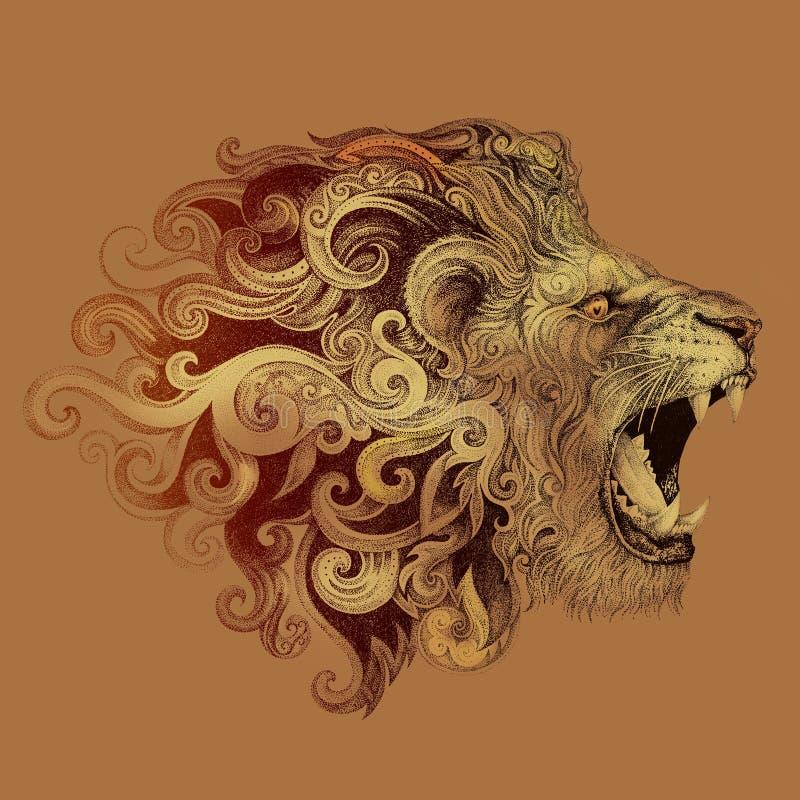 纹身花刺顶头咧嘴笑的狮子 向量例证