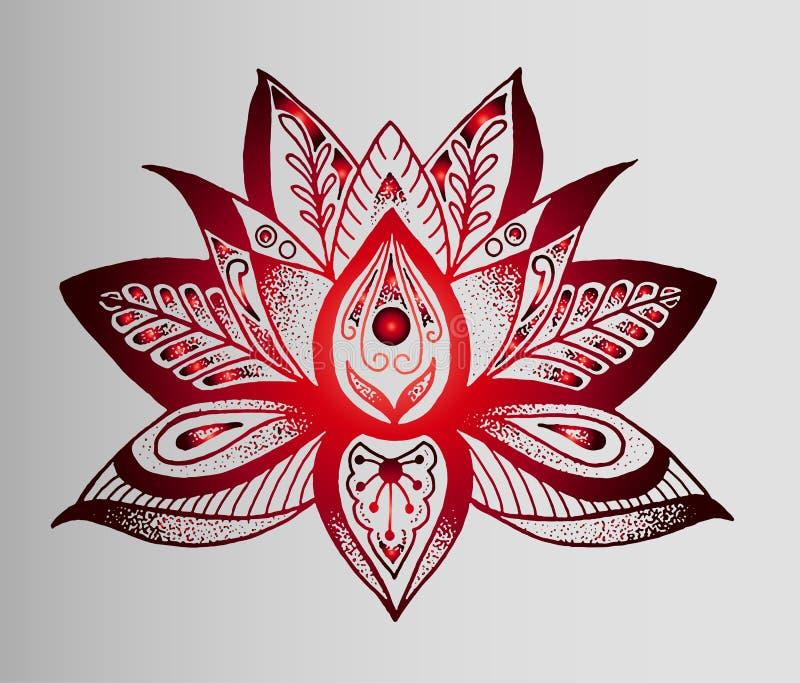 纹身花刺-红色莲花美好的印地安剪影  皇族释放例证