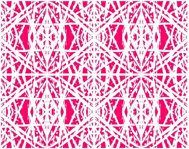 纺织品、陶瓷砖或者背景的种族抽象桃红色无缝的样式 向量例证
