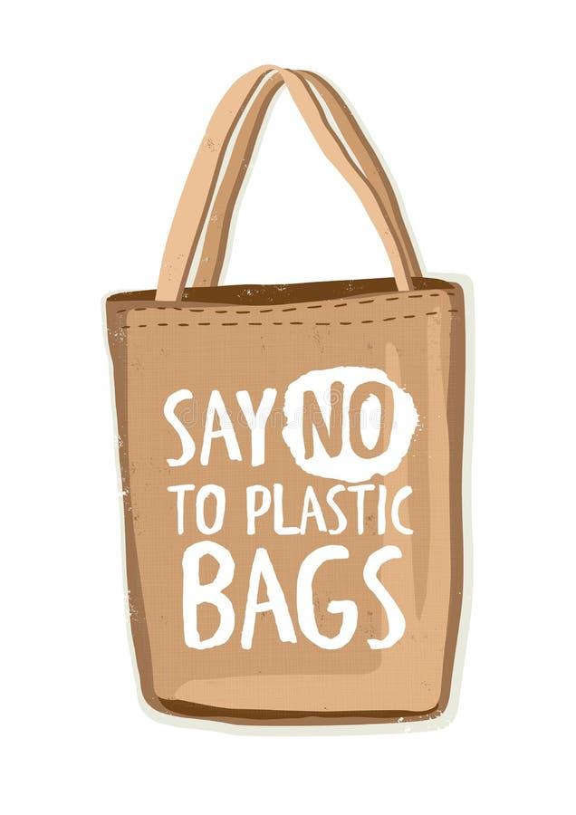 纺织品不伤环境的可再用的购物袋或eco顾客有字法的对手写的塑料袋说不 皇族释放例证