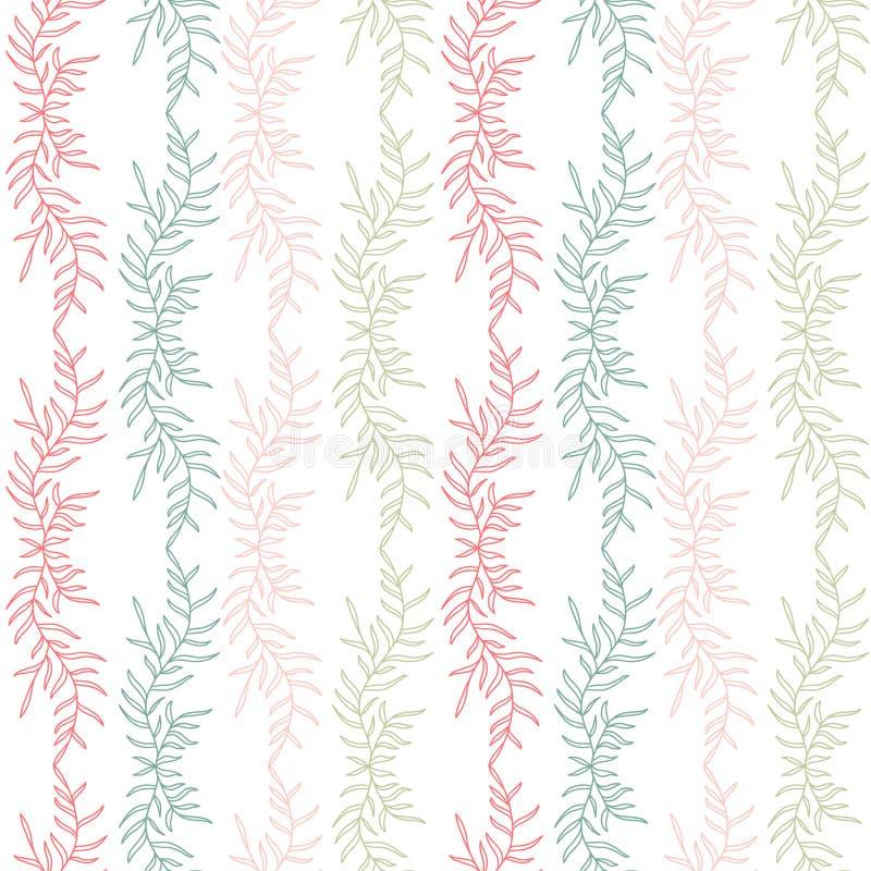 花卉无缝的背景 纺织品样式印刷品设计 五颜六色的无缝的样式 库存例证