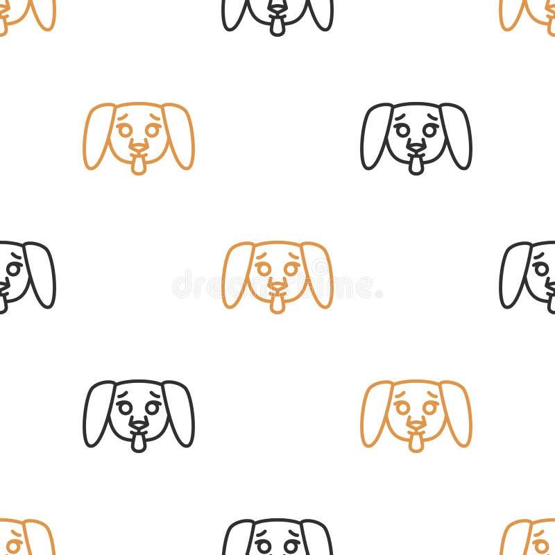 纺织品的无缝的样式与在白色背景的逗人喜爱的小狗 在线型的传染媒介例证 库存例证