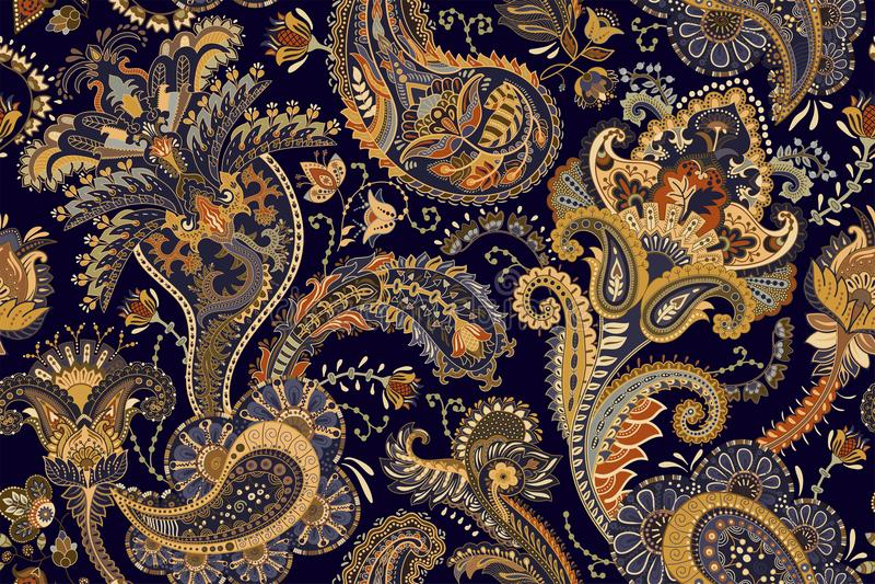 纺织品的,盖子,包装纸,网五颜六色的佩兹利样式 与装饰元素的种族传染媒介墙纸 向量例证