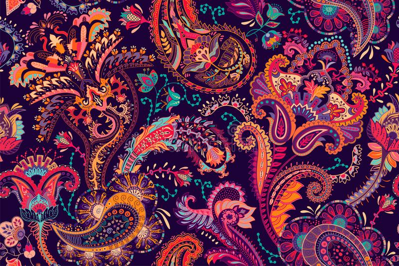 纺织品的,盖子,包装纸,网五颜六色的佩兹利样式 与装饰元素的种族传染媒介墙纸 库存例证