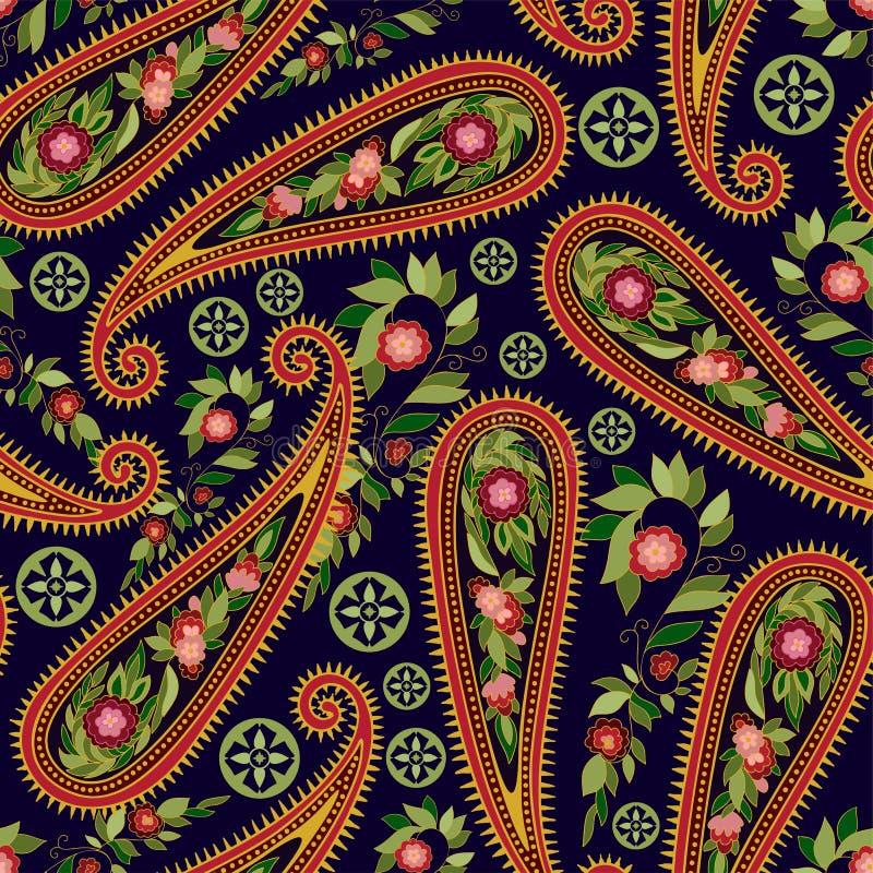 纺织品的,盖子,包装纸,网五颜六色的佩兹利样式 与装饰元素的种族传染媒介墙纸 皇族释放例证