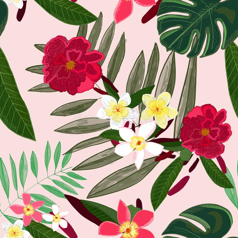 纺织品设计的无缝的样式 开花红色热带 赤素馨花 向量例证