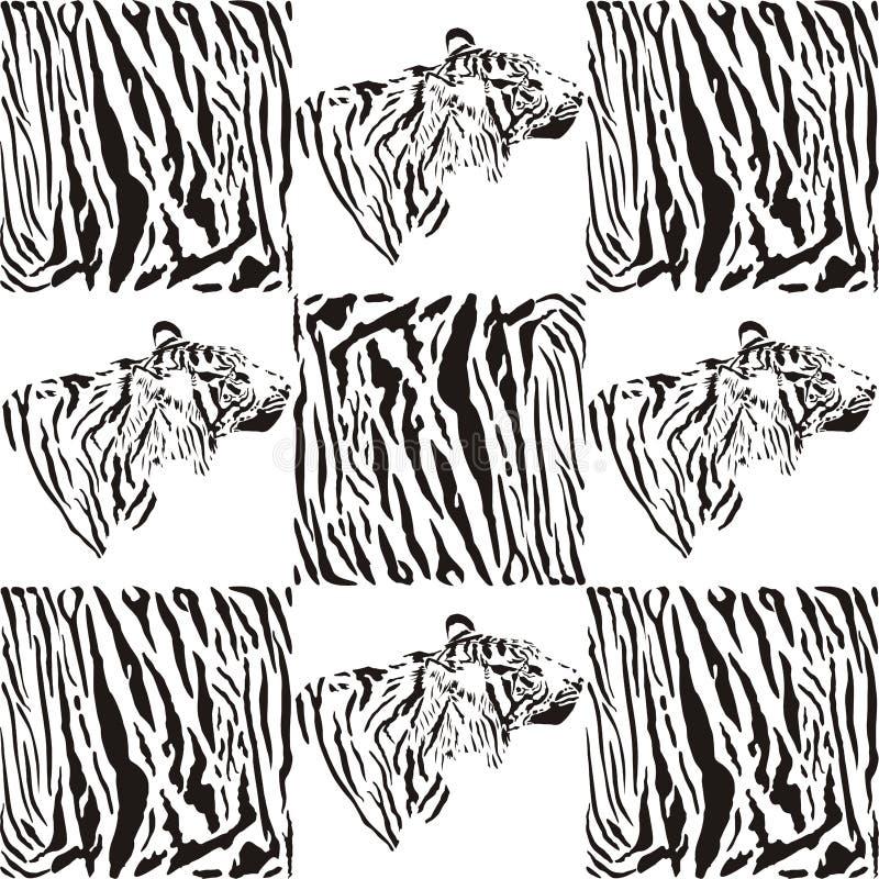 纺织品和墙纸的老虎样式 向量例证