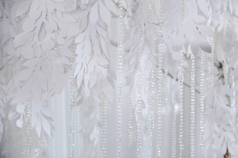 纺织品背景特写镜头 白色布织品花 婚礼纹理,鞋带 库存图片