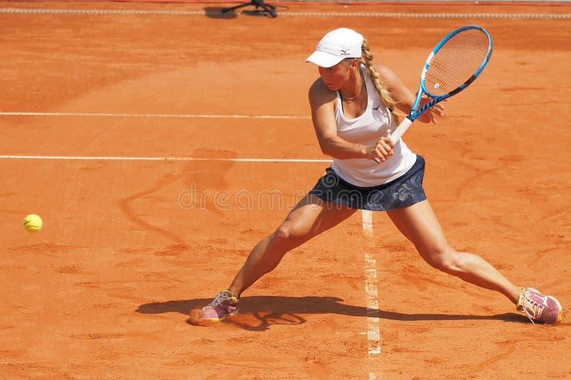 纽伦堡,德国- 2019年5月24日:Kazach网球员欧元250的尤利娅Putintseva 000个WTA Versicherungscup比赛 库存图片