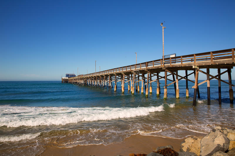 纽波特码头海滩在加利福尼亚美国 库存图片