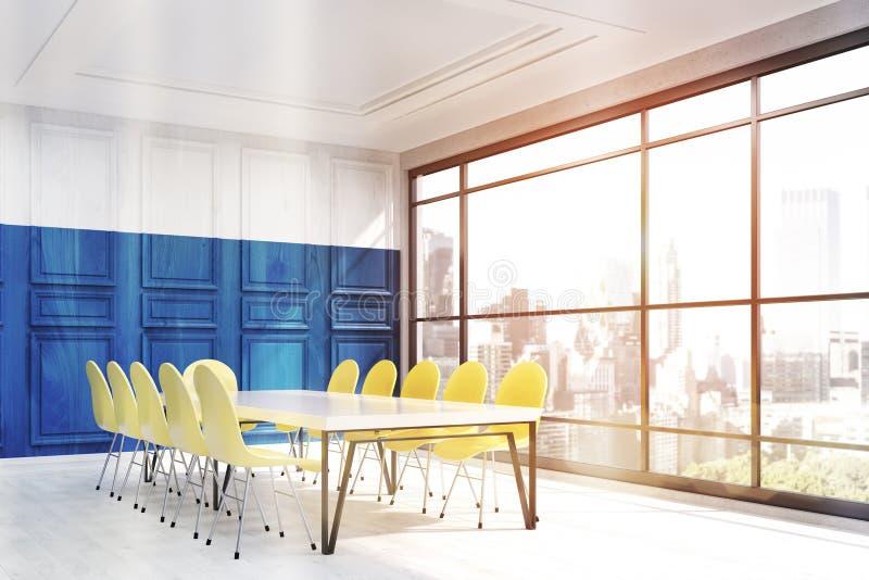 纽约与蓝色墙壁的办公室内部 皇族释放例证
