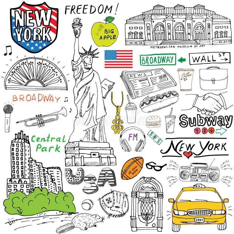 纽约乱画元素 手拉的集合与,出租汽车,咖啡,热狗,自由女神象,百老汇,音乐,咖啡,报纸, 皇族释放例证