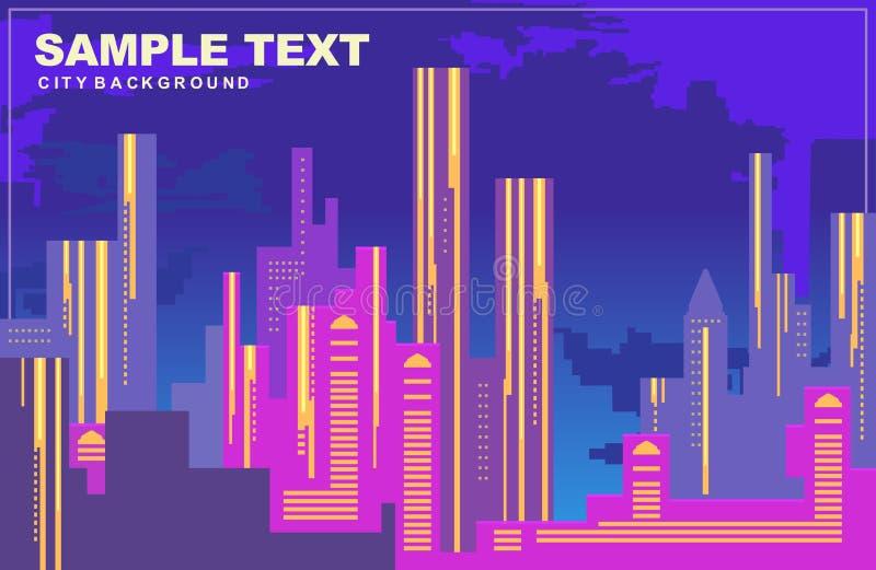 纽约五颜六色的城市全景深蓝口气的,大厦,都市风景剪影在晚上,传染媒介背景 库存例证