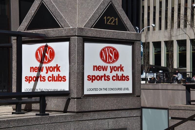 纽约体育俱乐部标志曼哈顿中城 库存图片