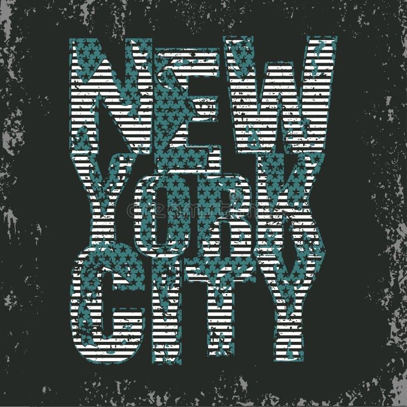 纽约印刷术, T恤杉NY,设计图表 库存例证