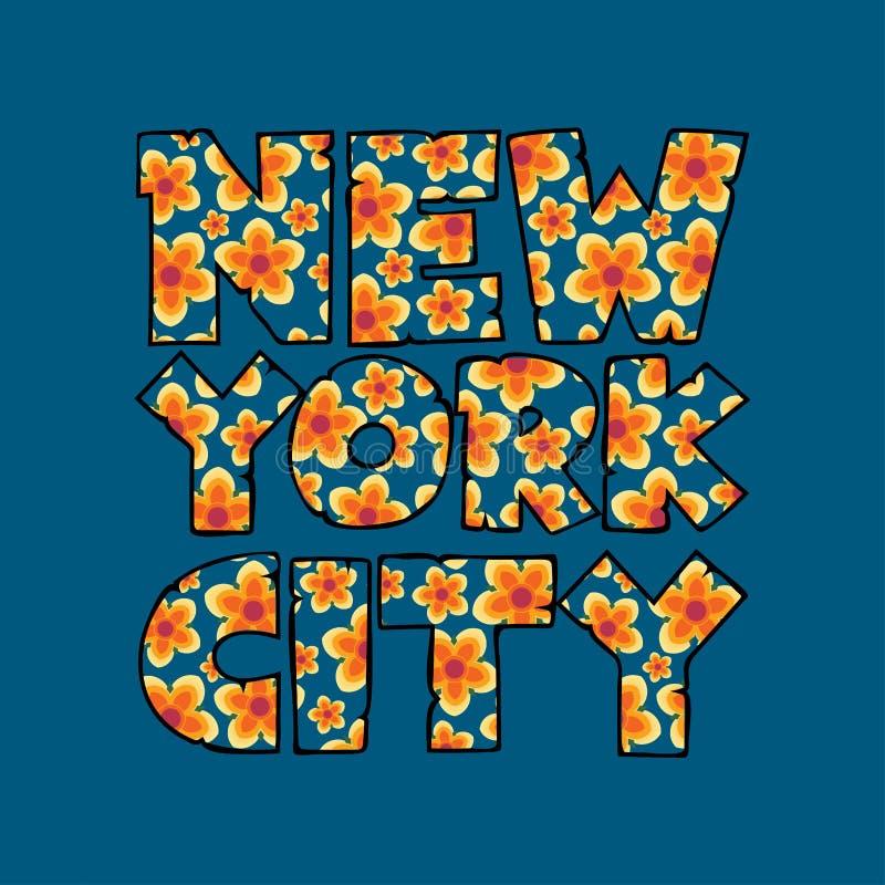 纽约印刷术, T恤杉NY,设计图表 皇族释放例证