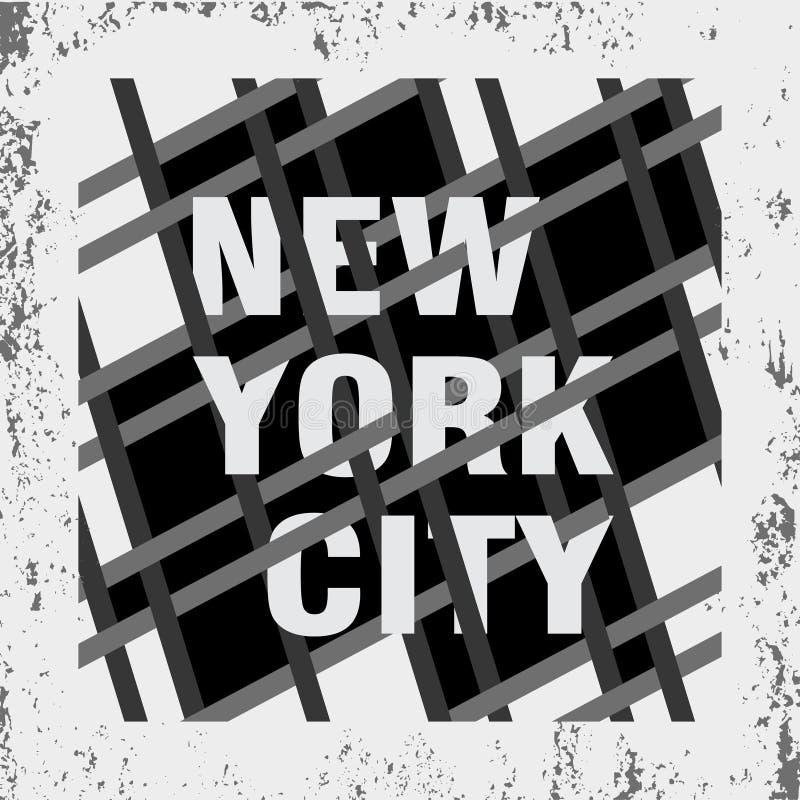 纽约印刷术,T恤杉NY,设计图表 库存例证