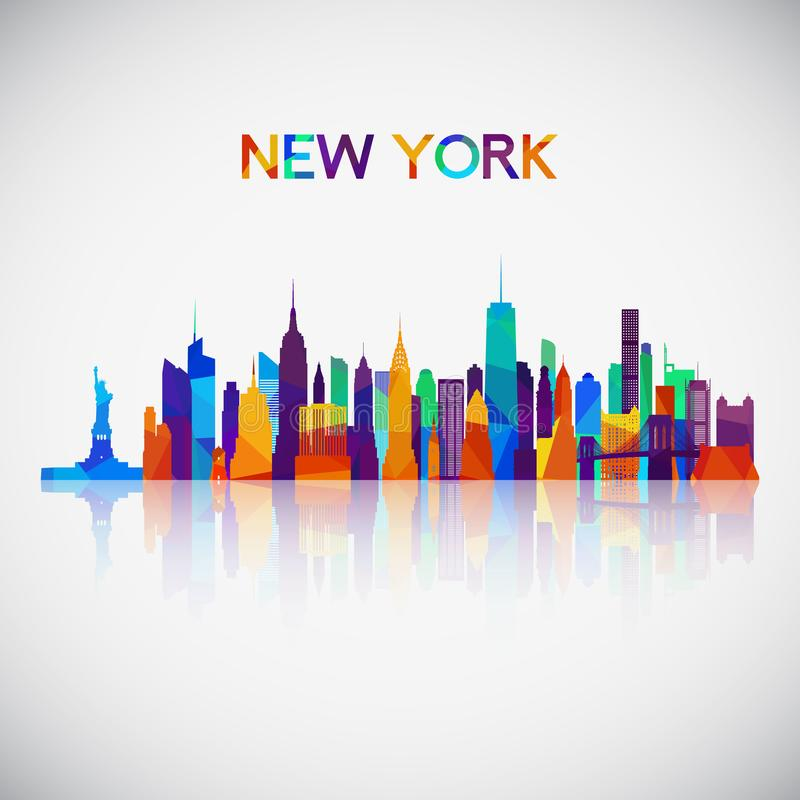 纽约在五颜六色的几何样式的地平线剪影 向量例证