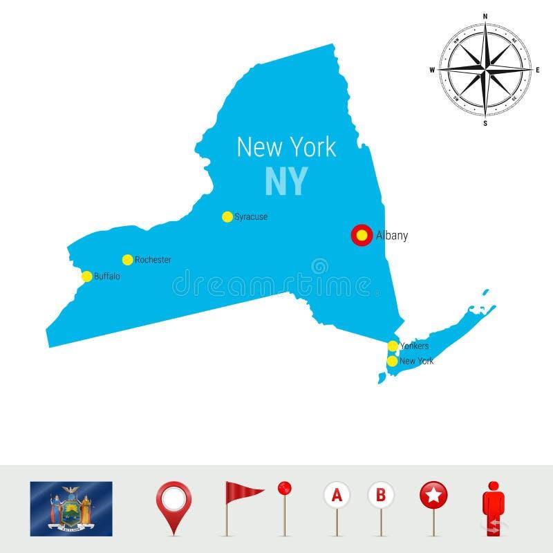 纽约在白色背景隔绝的传染媒介地图 纽约州高详细的剪影 纽约正式旗子图片