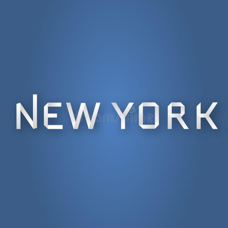 纽约在蓝色背景的纸文本 免版税库存图片