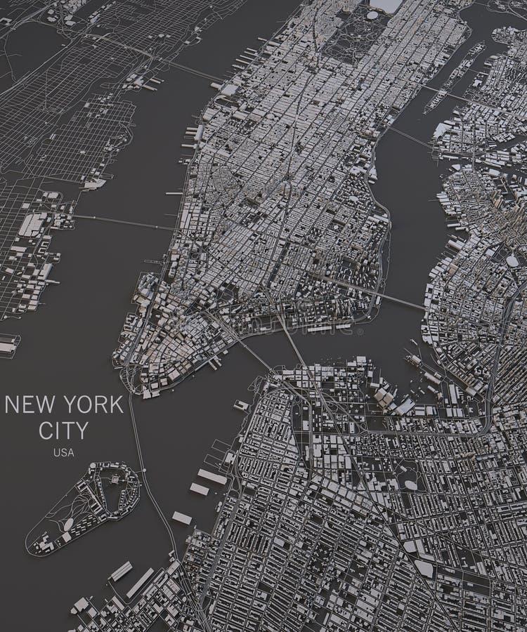 纽约地图,卫星看法,在阴性的地图 库存例证