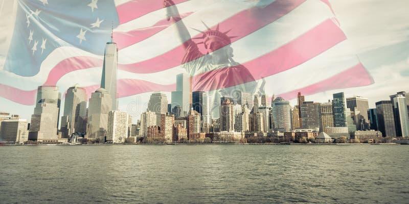 纽约地平线三倍曝光  免版税库存照片