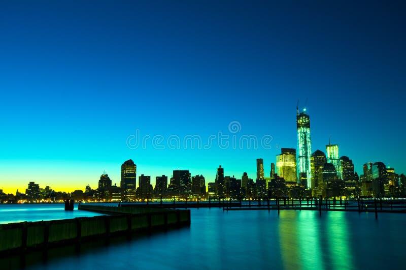 纽约地平线在晚上,美国 库存照片