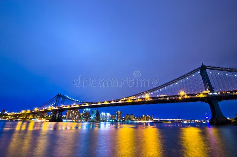 纽约地平线在晚上,美国 免版税库存图片