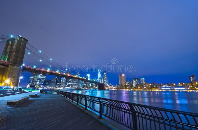 纽约地平线在晚上,美国 图库摄影