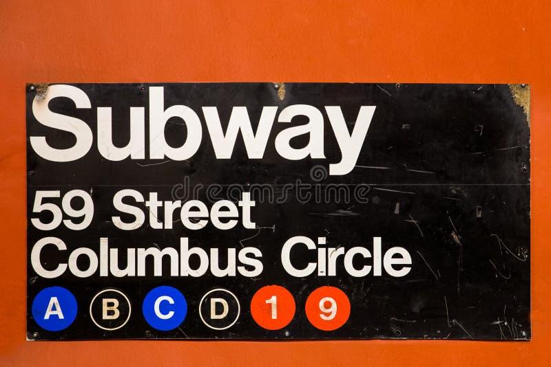 纽约地铁入口标志 免版税库存照片